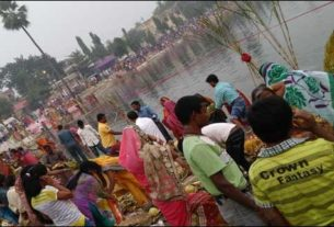 Chhath being celebrated at harahi in Darbhanga