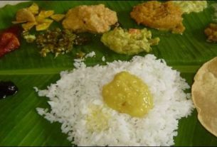 Feast served on traditional banana leaves in Mithila