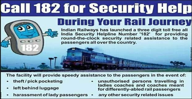 24-hour toll-free helpline 182 for security-related needs in Darbhanga Trains