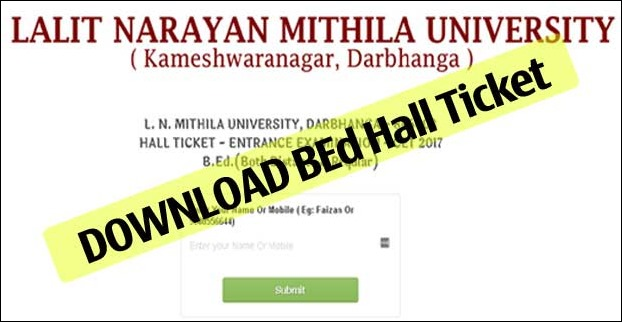 Download LNMU BEd 2017 Admit Card / Hall Ticket Click